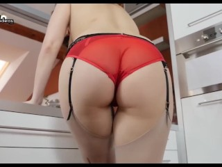 Mindblowing brunette in sheer lingerie and stockings upskirt and striptease with masturbation