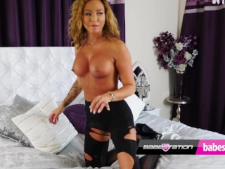 British stunner Natalia rips her nylons and fucks her toy