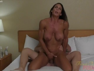 Ripped bodybuilder with fake tits sucks and fucks her mans cock