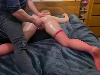 Spredding this tight oiled up pussy on swedish slut.