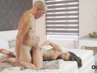 OLD4K. Naughty minx permits old partner to shove cock into her ass