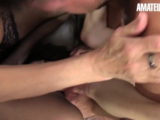 XXXOmas - Big Tits German Grannies Rough Threesome Fuck With Lucky Stud - AMATEUREURO