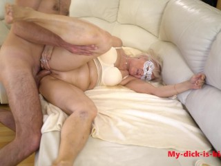Step Grandson Fucks Granny in the ass! 70 year old granny ANAL ATM Mila Fox. 4K. My-dick-is-big