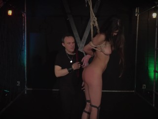 Teen in submission trapped in the bondage dungeon endures her discipling