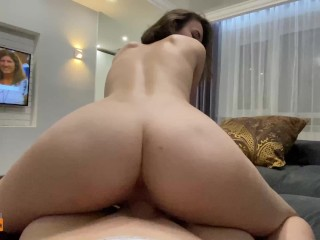 Busty brunette was excited by a blowjob and jumped on top of a guy's fat dick !